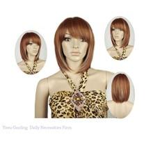 2015 new arrival Synthetic Kanekalon Toyokalon Fiber Brown Highlighted Medium Bob Wigs lady stars Hair wig Bobo wigs