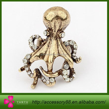 Retro charm fashion, personality lovely Octopus shaped diamond opening ring