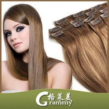 New hair product Fast shipping Lace design PU design brazilian human hair clip in hair extensions
