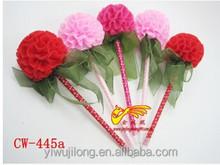 2015 best selling Red ribbon ballpoint pen flower ball pen