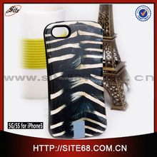Latest Design high quality elegant animal skin stripes leather+tpu cell phone case for iphone 5g