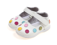 Assorted dot baby leather girl shoes in bulk