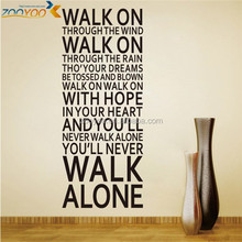 Removable vinyl home wall decpr 3d quote wall sticker home decor (ZY 8307) Walk on through the wind