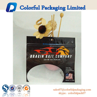 PE plastic material transparent window fishing lure packaging bags with custom printing up to 9 colors
