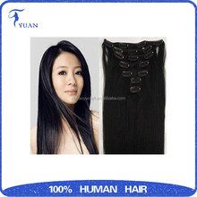 Wholesale virgin brazilian natural straight extensions clip in banana clips hair