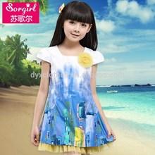 Las ventas al por mayor corto- manga moderno- los niños- vestido de, puro y colorido manga corta vestido de princesa