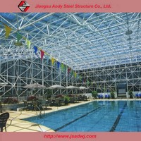 Already manufactured steel space frame roof of swimming pool