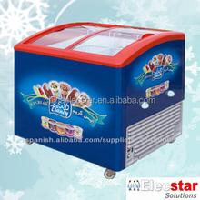 Curved glass door ice cream freezer with CE/ETL certification, ice cream showcase, Popsicles Display Freezer