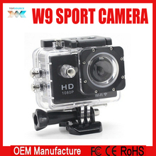 Built-in 2300mAh battery 60fps 2k best selling products 64G TF card sport action camera sj4000 w9 with 2.0 inch screen