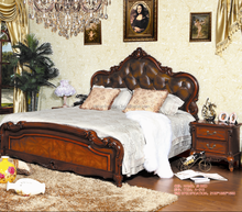 2015 luxury Pure hand carved beech wood European princess bed