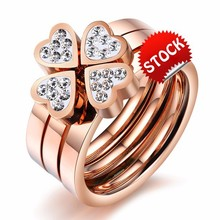 Heart-shaped titanium steel Clover Korean female simulated diamond rose gold-plated rings