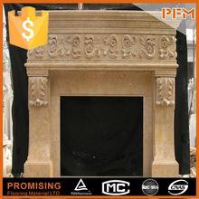 2014 caldo vendita naturale marmo in intagliato a mano elettrico camino giallo effetto fiamma