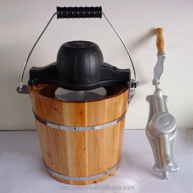 Ice cream maker en bois seau machine cr me glac e traditionnelle ice cr - Sorbetiere en bois traditionnelle ...