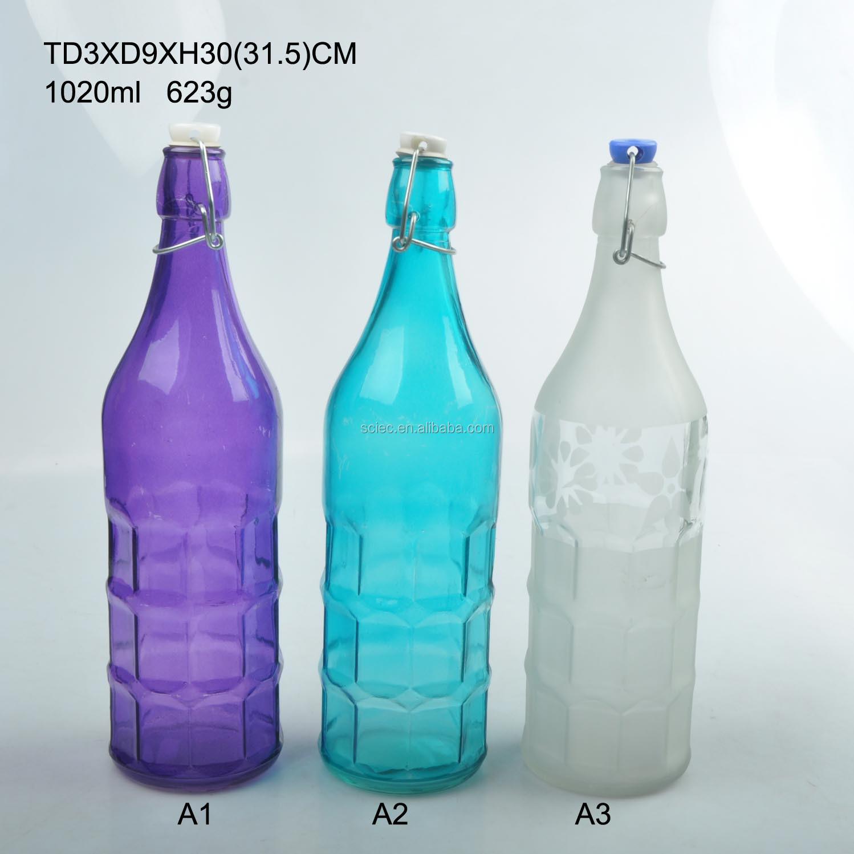 1 Liter Glass Milk Bottle 1l Glass Bottle With Swing Matal