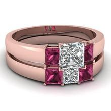 Ruby cz fashion wedding rings 2PC/set ring jewelry