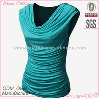 Reglan sleeve 2015 high quality fashion garment manufacturer rayon and polyester blouse