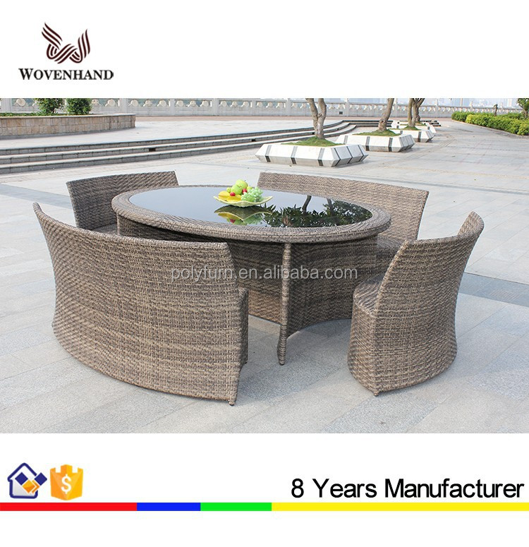 woven outdoor furniture set space saving oval dining table
