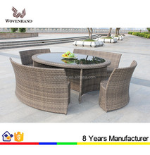 Woven Outdoor furniture Set space saving Oval Dining Table with 6 seaters