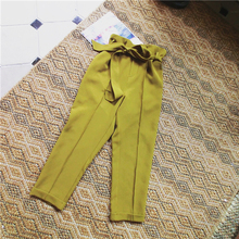 European and American Style Wild Pure Color Waist Lace Suit Pants B9205
