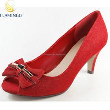 FLAMINGO 2015 LATEST ODM/ OEM Bow style Glitter elegant Fashion pump peep toe low heel lady shoes