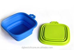 FDA/LFGB Portable Square Collapsible foldable silicone pet bowl