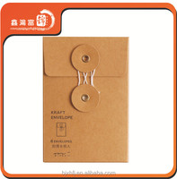 standard size custom kraft paper envelope with string