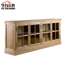 French Antique recycled wood brown TV cabinet