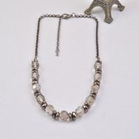 N13877-01New Style Women Gun Black Fashion Bib Statement Facted Glass Beads Necklace