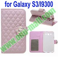 Cover for Samsung Galaxy S3 Leather Case with a Diamond Flower on the Closer