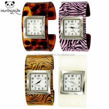 Times jungle quartz japan movt ladies cuff for small wrists shaped square watch