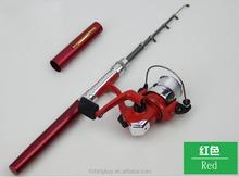 Mini Aluminum Pocket Pen fiberglass fly fishing rod Pole + Reel Sea Fishing Rods Tackle Tool