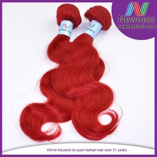 red color indian remy human weaving extension virgin premium too hair