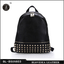 New Fashion Trend Top Grain Rivets Hot Selling Women Genuine Leather Backpack