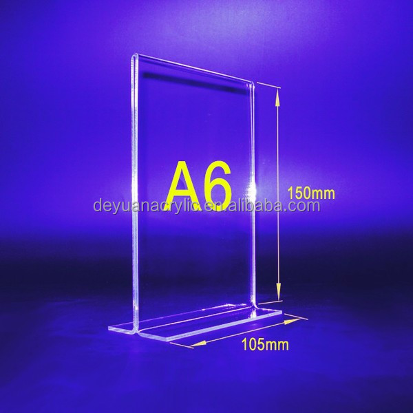 custom design table stand menu holder/acrylic table stand menu holder wholesale