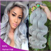 Sunny Queen Hair 2015 wholesale most fashionable silver gray hair bundle, gray hair weft, gray hair extensions