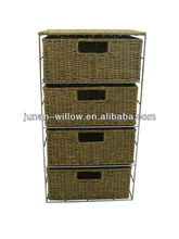 steel storage cabinet with bamboo mat wicker drawers