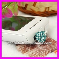 Alloy Rhinestone Mobile Phone Dustproof Plugs(MOBA-H018-10)
