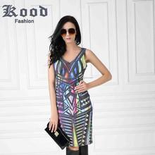 New women fashion sleeveless v neck colorful printing cocktail dress