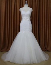 Sweetheart Brush train simple satin wedding dress for bride