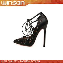 black Fashion Red Bottom High Heel Pointed Toe Hollow Out Shoes For Women