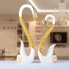 White two Swan Ornament Craft Ameriacan Maket Popular Swan Christmas Ornaments