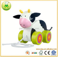 2015 Qiqu Baby toys Cow Pull Along Baby/Toddler/Child Wooden Toys for children Walking