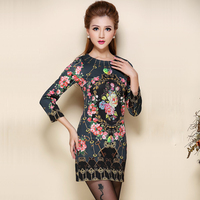 2015 Vintage Floral Printing Elegant Chinese Style Bodycon Black Dress Plus Size Women Clothing 6033