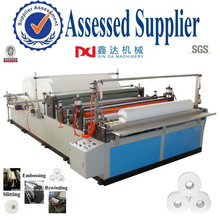 Automatic high speed slitting embossing rewinding big toilet roll machine