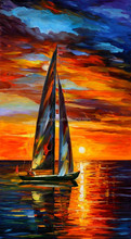 Modern Landscape Knife Image s Painting boat on sea