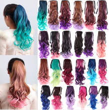 Curly 25Colors Ombre Colourful Pony Tail Hair one Clips Wrap 60cm New Year Gift