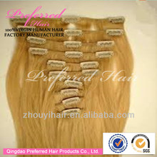 Alibaba Chinese human best 22'' 144# silk straight Brazilian clip in hair extension accept Escrow