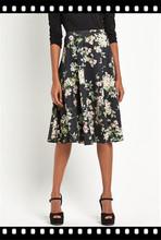 Floral completo falda de Midi doblada de talle alto falda elegante Color sólido