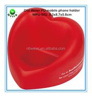 bulk personalized custom printed PU foam stress heart shaped mobile phone holder 9.3x8.7x5.8cm