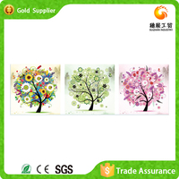 Wholesale trading hand work gift 3d rhinestone abstract tree canvas painting
